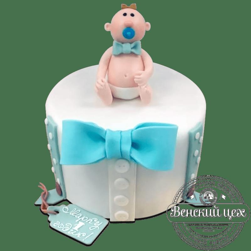"""Торт детский на 1 годик """"Человек родился"""" №109"""