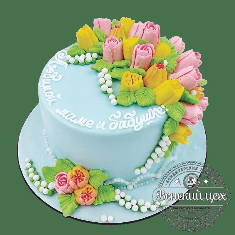 """Торт на день рождения """"Тюльпаны"""" №936"""