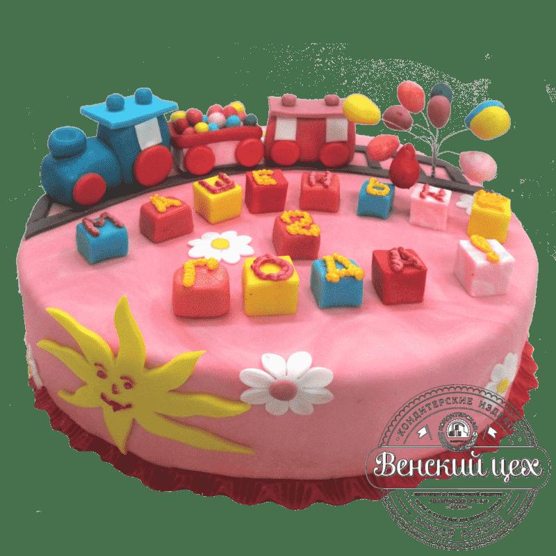 """Торт детский на 1 годик """"Праздничный поезд"""" №113"""