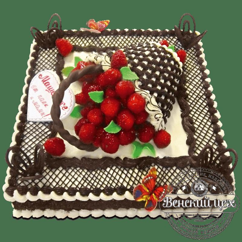Торт на день рождение «Корзина с малиной» №1168