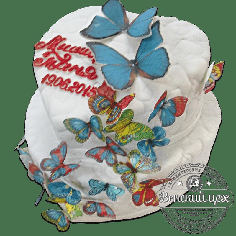 """Торт свадебный """"Бабочки"""" № 1280"""