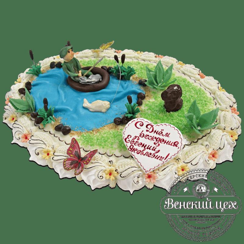 """Торт на день рождения """"Рыбалка"""" №1292"""