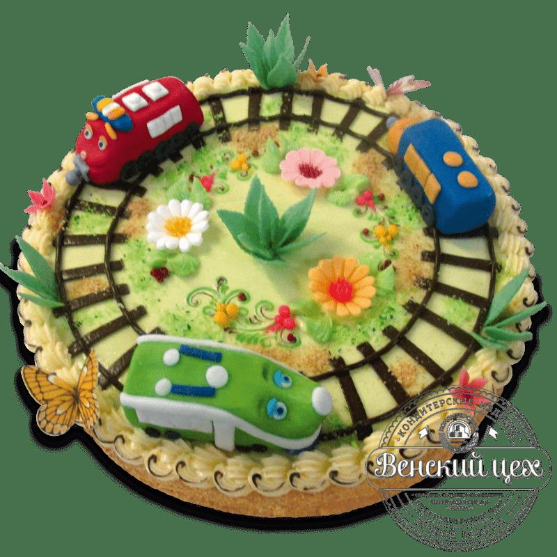 "Торт детский ""Паровозики на лугу"" №1315"