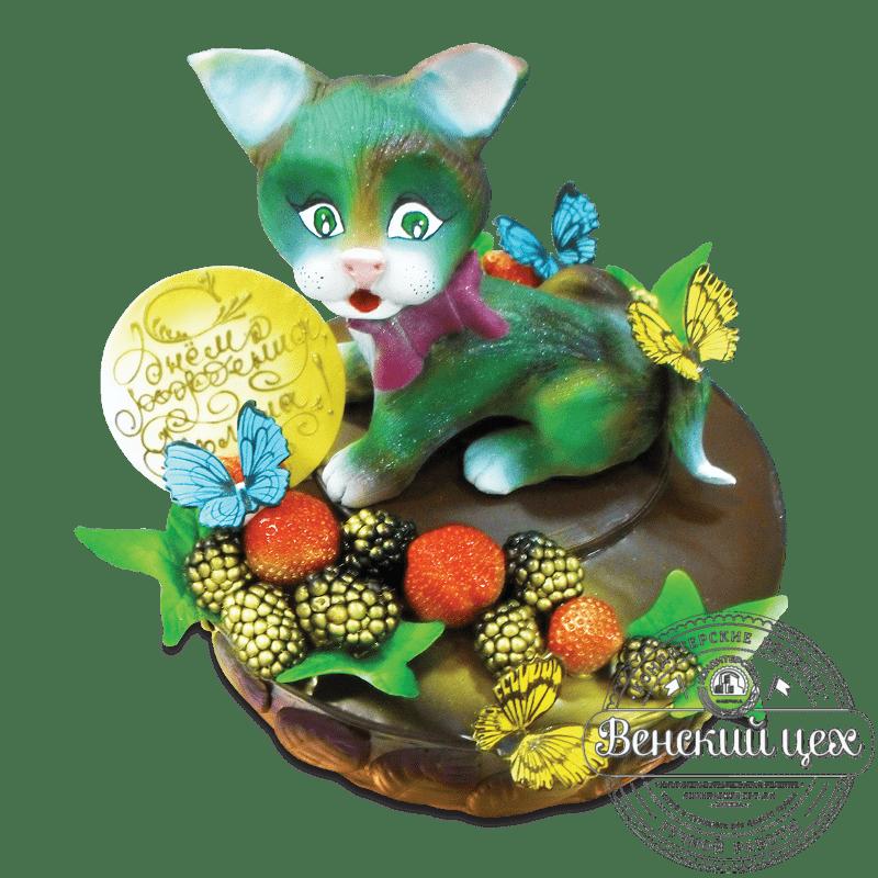 """Торт детский """"Котёнок и бабочки"""" №1620"""