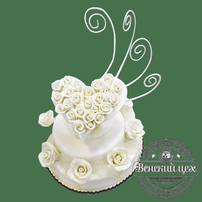 """Торт свадебный """"Сердце из роз"""" №1627"""