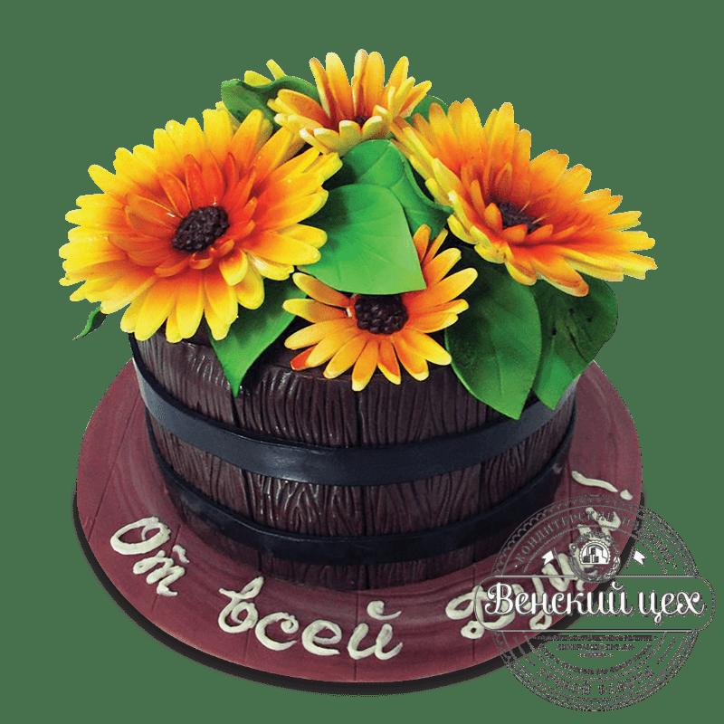 """Торт на день рождения """"Подсолнухи"""" №1628"""