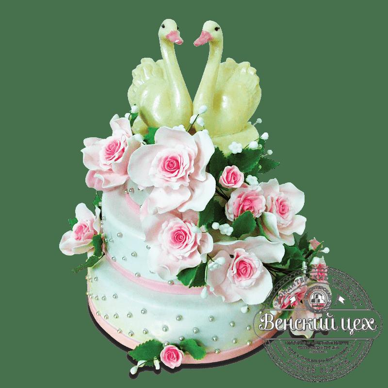 """Торт свадебный """"Лебеди и розы"""" №1637"""