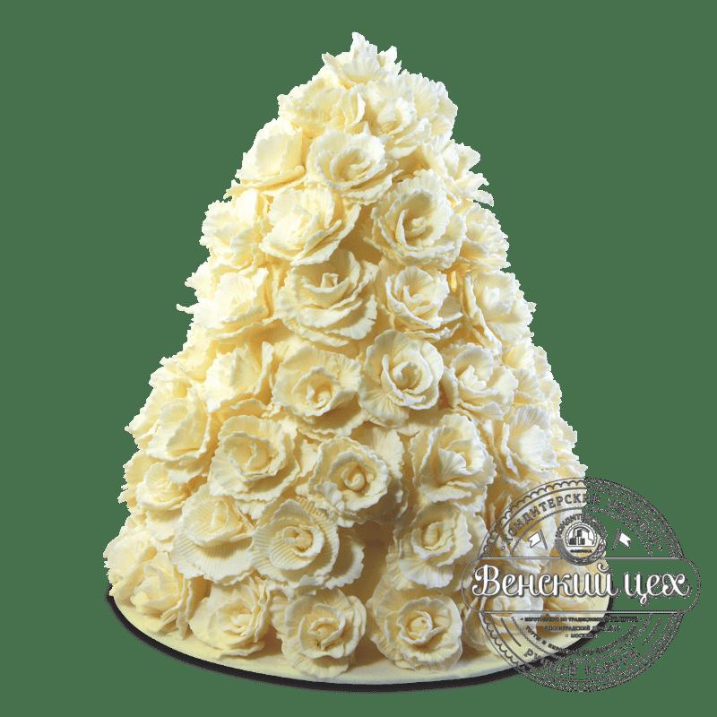 """Торт свадебный """"Белые розы"""" №1638"""