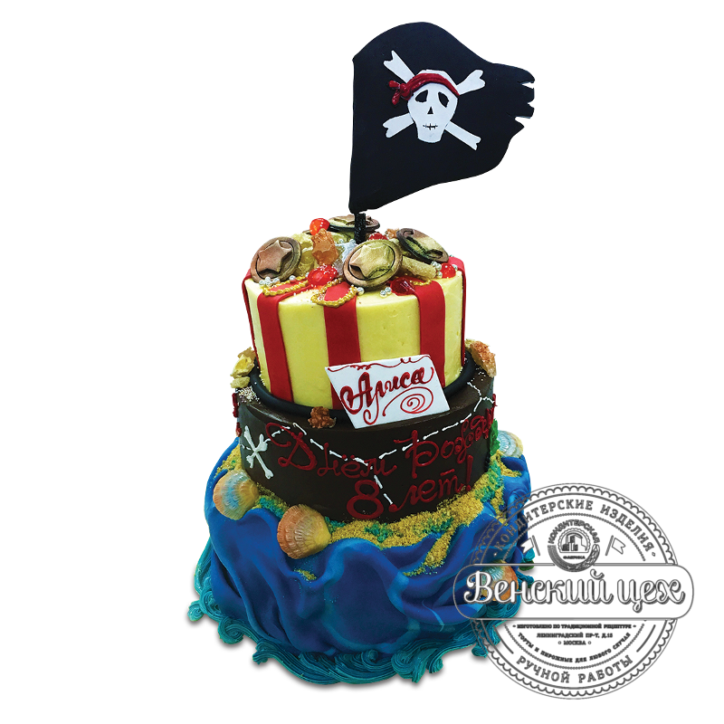 """Торт на день рождения """"Сокровище пиратов"""" №1689"""