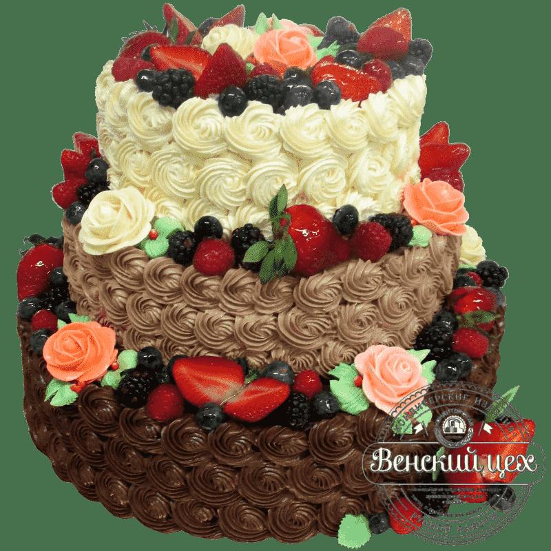 """Торт на свадьбу """"Молоко и шоколад"""" №175"""