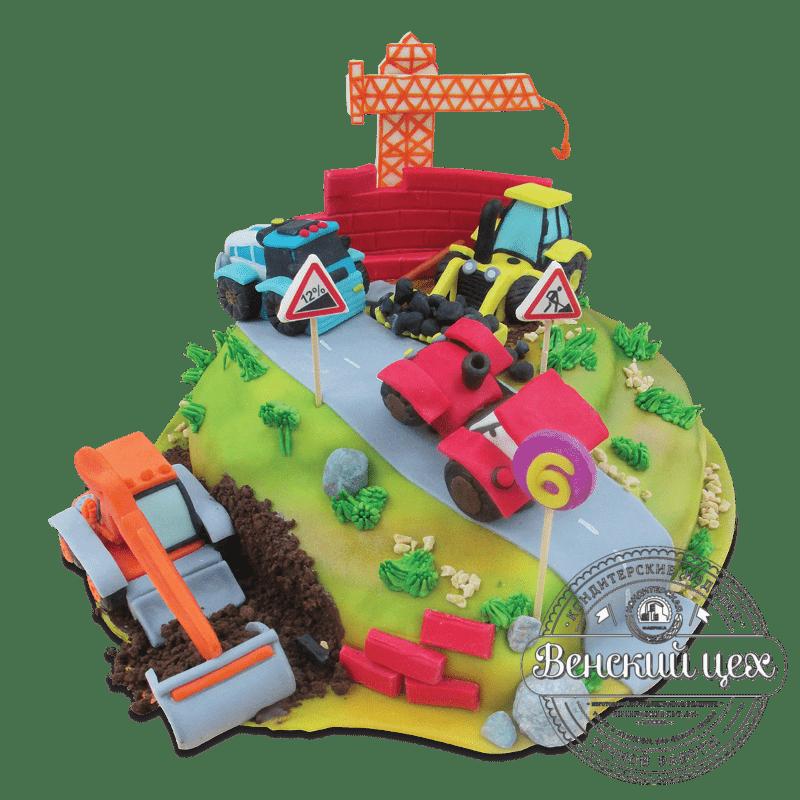 """Торт на день рождения """"Дорожные работы"""""""