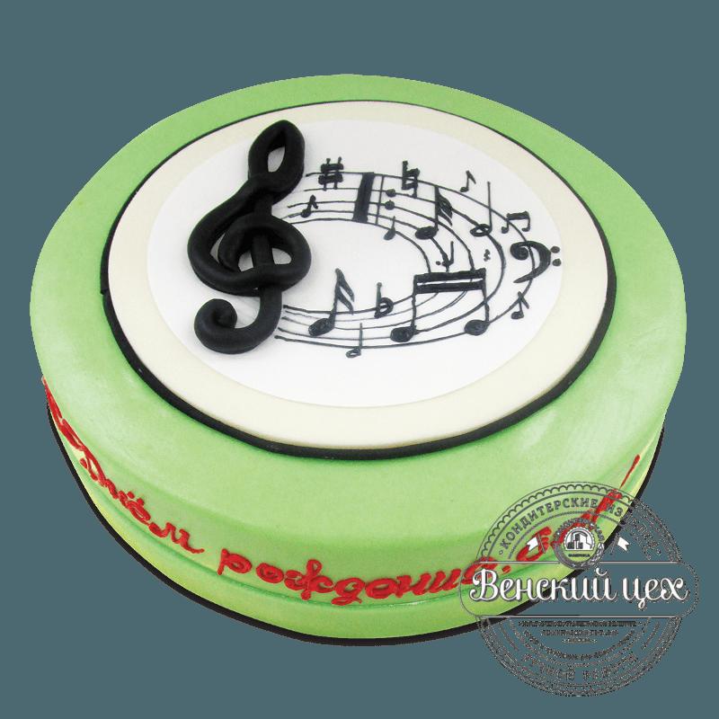 """Торт на день рождения """"Нотный круг"""" №1753"""