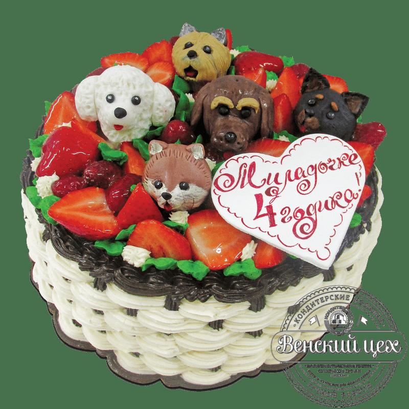 """Торт на день рождения """"Собачье лукошко"""" №1765"""
