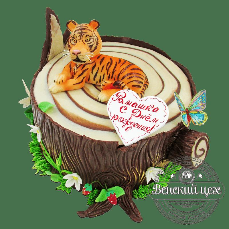 """Торт детский """"Тигр в джунглях"""" №1771"""
