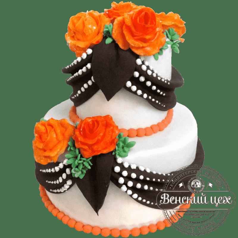 """Торт на свадьбу """"Розы и шоколад"""" №179"""