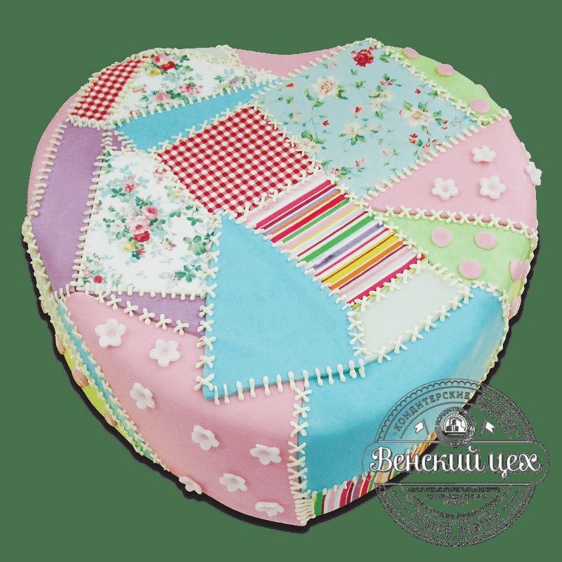"""Торт на день рождения """"Лоскутное сердце"""" №1816"""