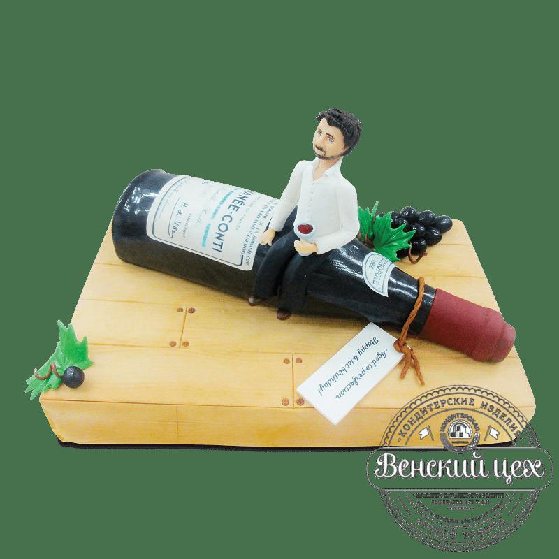 """Торт на день рождения """"Винная бутылка"""" №1829"""