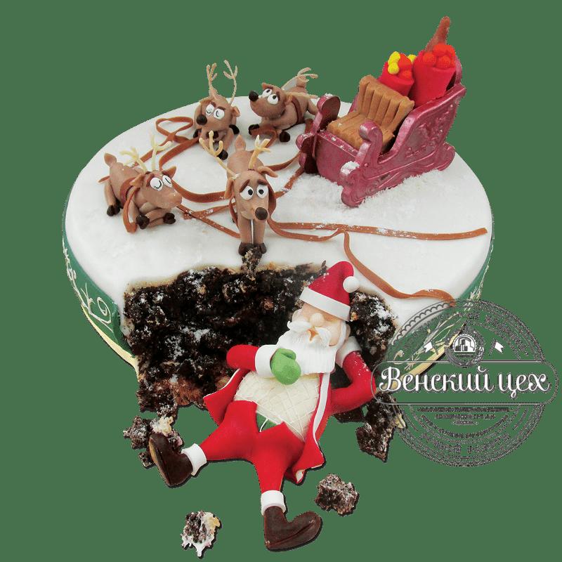 """Торт на праздник """"Спящий Санта"""" №1849"""