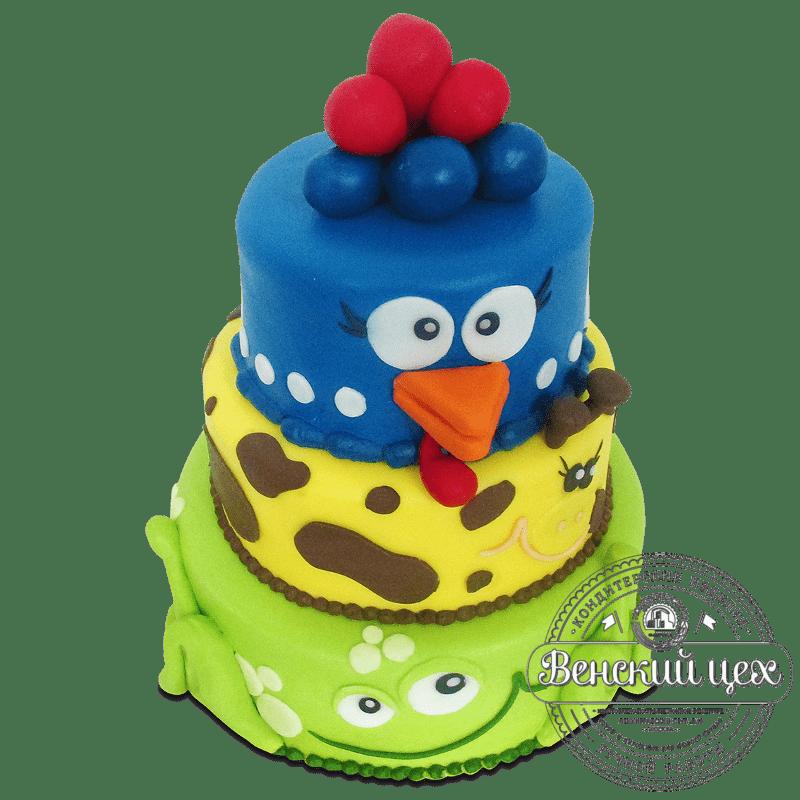 """Торт детский """"Курица, жираф и лягушка"""" №1857"""