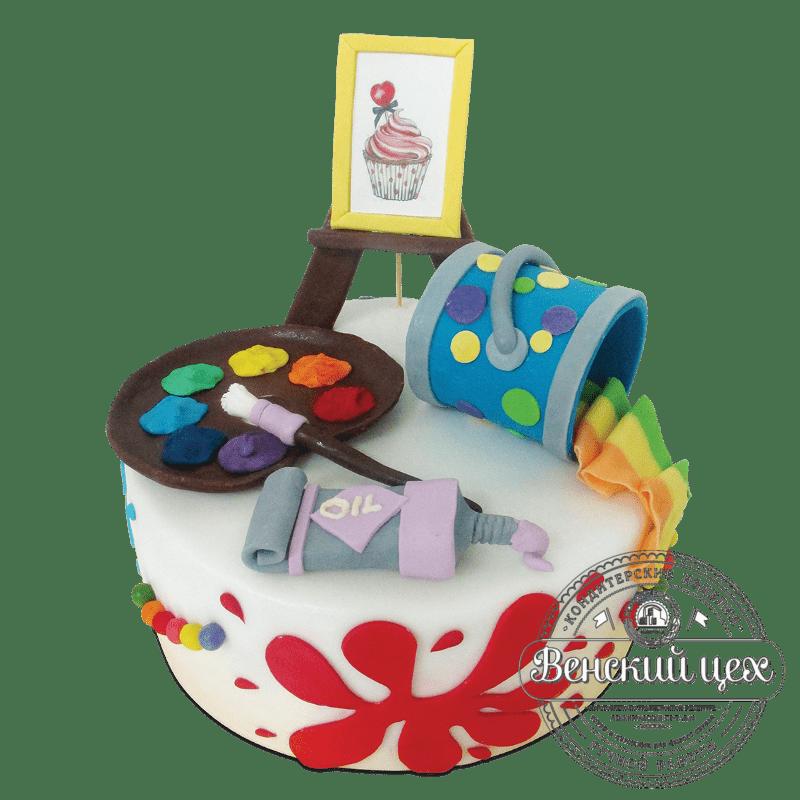 """Торт на день рождения """"Мольберт и палитра"""" №1874"""