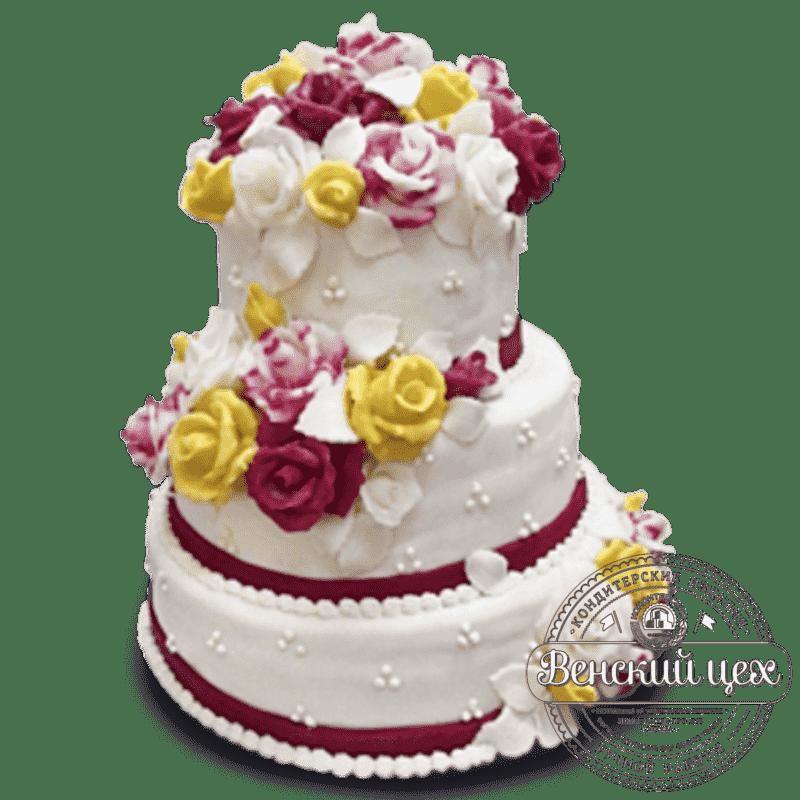 """Торт на свадьбу """"Лепестками нежных роз..."""" №188"""