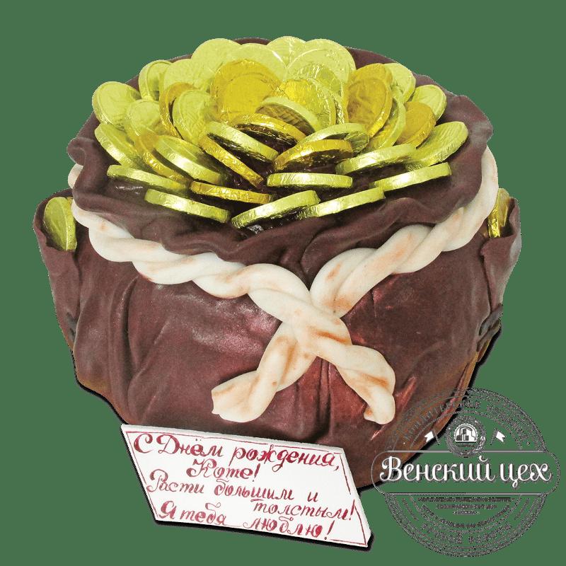 """Торт на день рождения """"Кошель монет"""" №1880"""