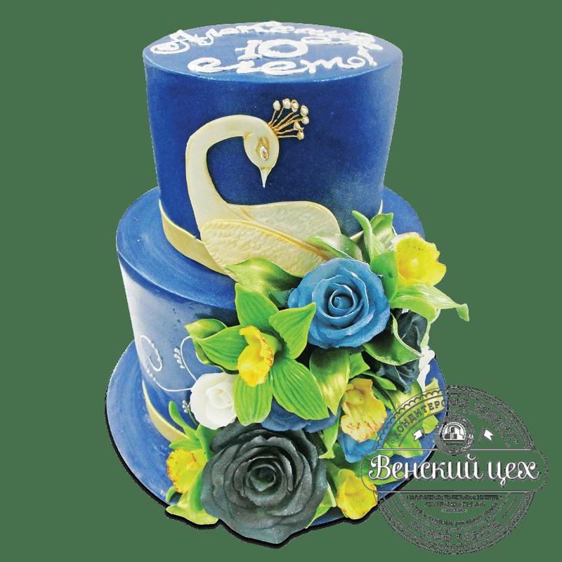 """Торт свадебный """"Белый павлин"""" №1890"""