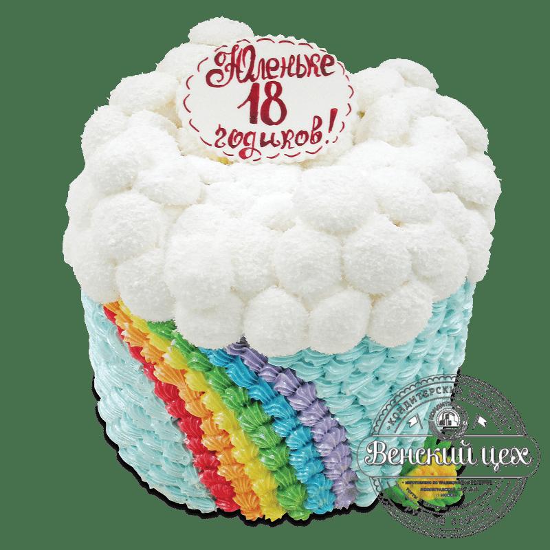 """Торт на день рождения """"Радуга в облаках"""" №1891"""