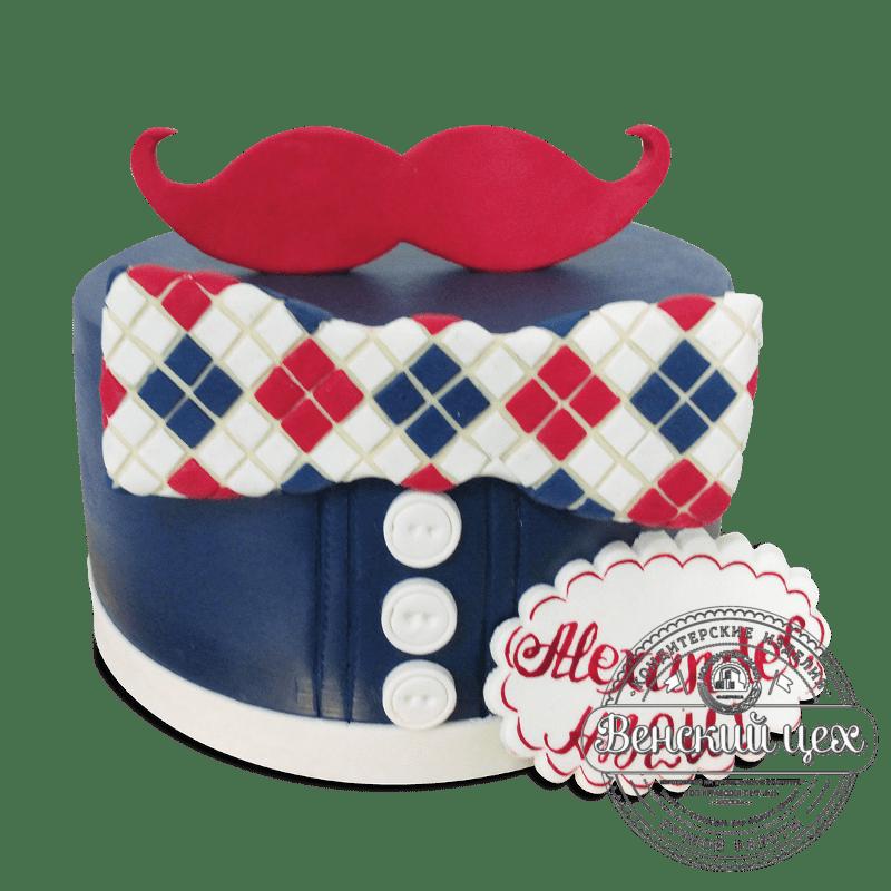 """Торт на день рождения """"Усы"""" №1897"""