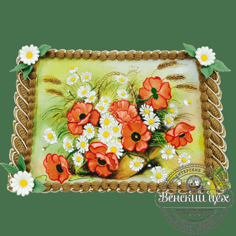 """Торт на праздник """"Маки и ромашки"""" №19"""