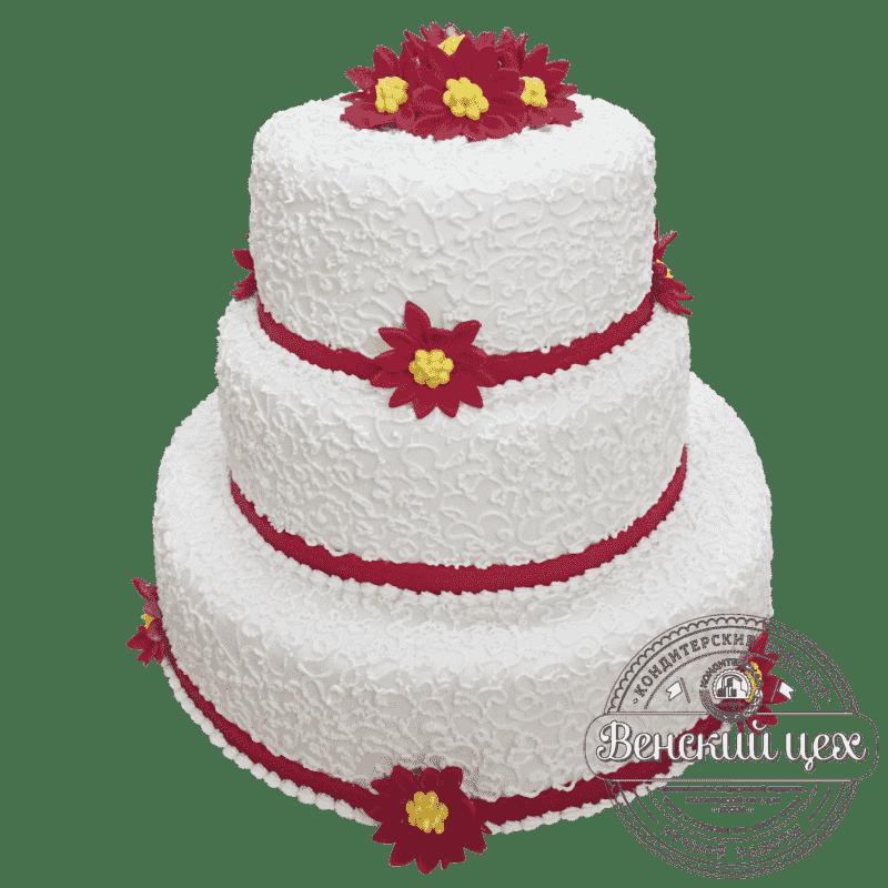 """Торт на свадьбу """"Алые хризантемы"""" №190"""