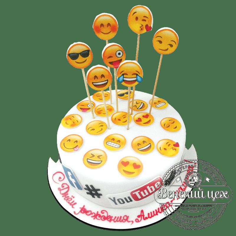 """Торт на день рождения """"Эмодзи"""" №1912"""