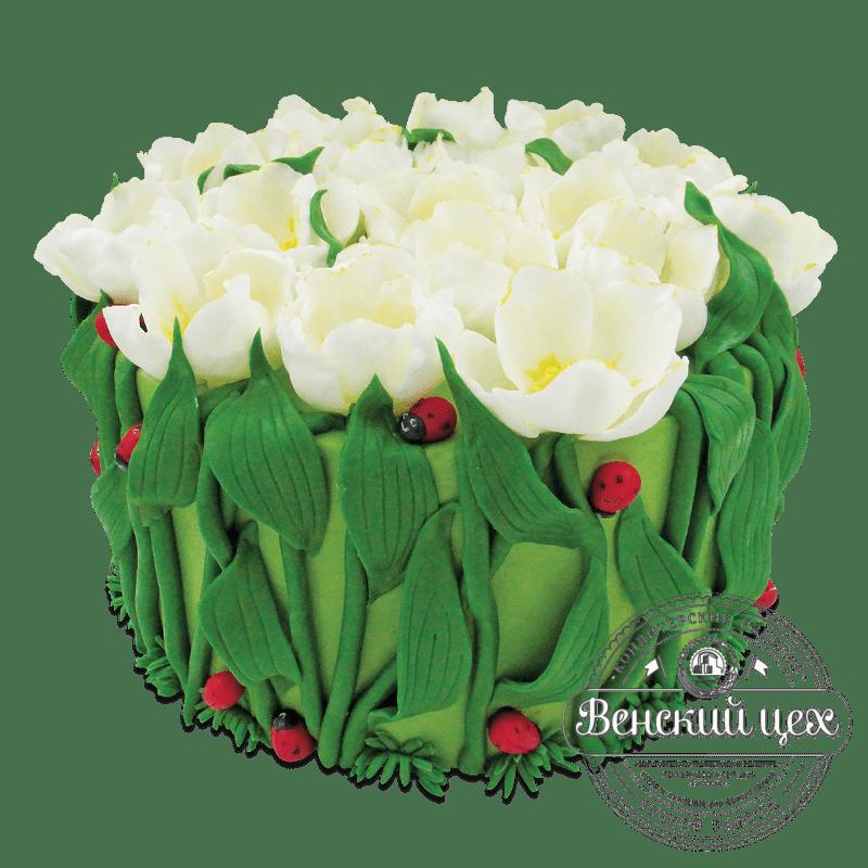 """Торт на день рождения """"Божьи коровки на тюльпанах"""" №1916"""