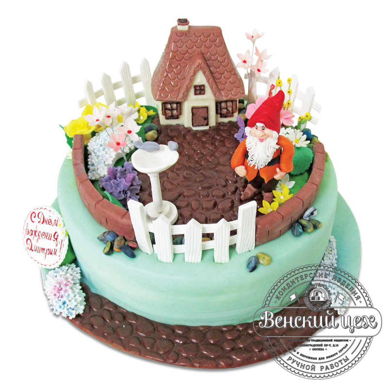 """Торт на день рождения """"Домик гномика"""" №1925"""