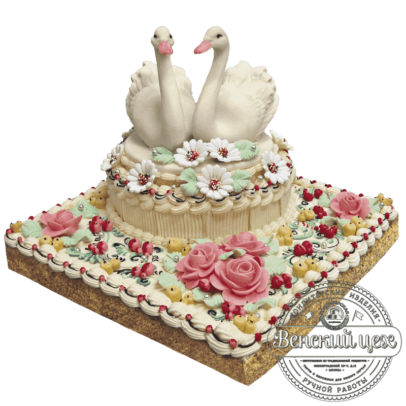 """Торт на свадьбу """"Лебединый дуэт""""  №193"""