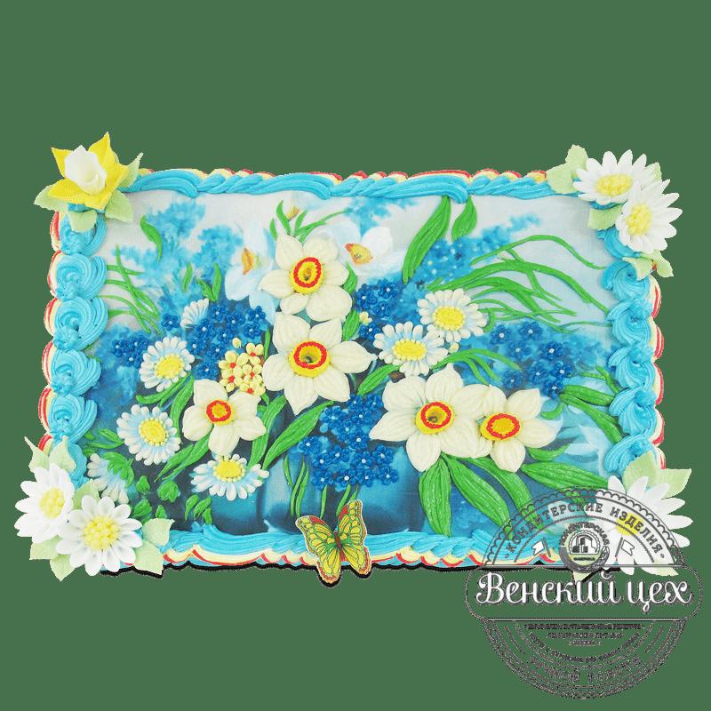 """Торт на день рождения """"Нарциссы"""" №1941"""