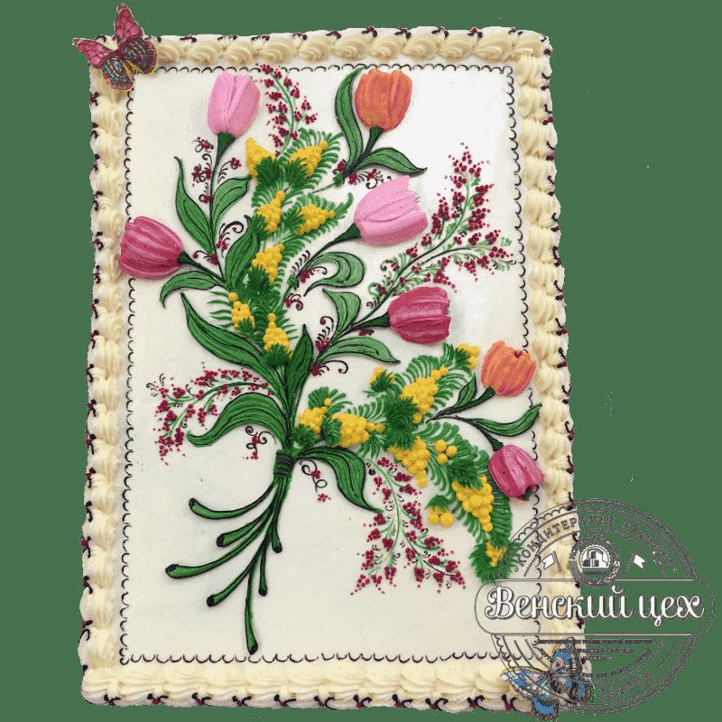 Праздничный торт «Букет тюльпанов» №20