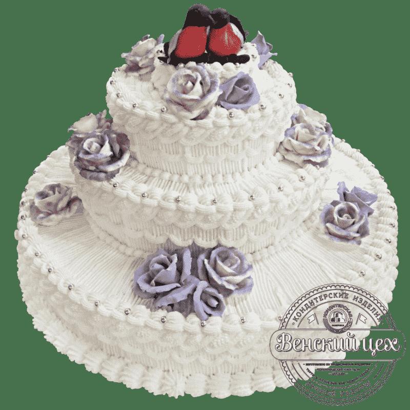 """Торт на свадьбу """"Свадебные снегири"""" №208"""