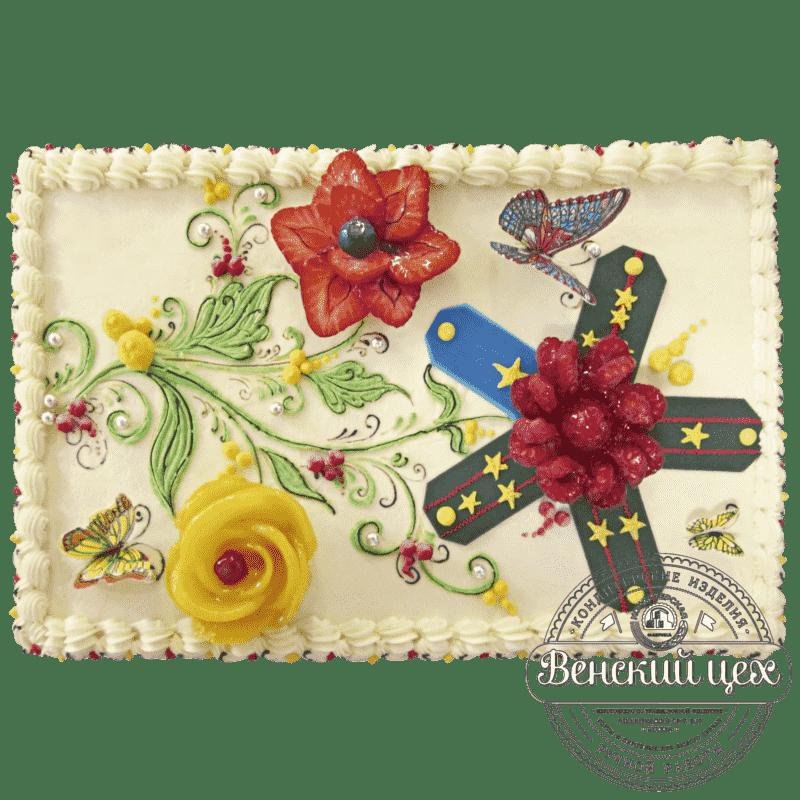 Торт на день рождения «Армейский цветок» №210