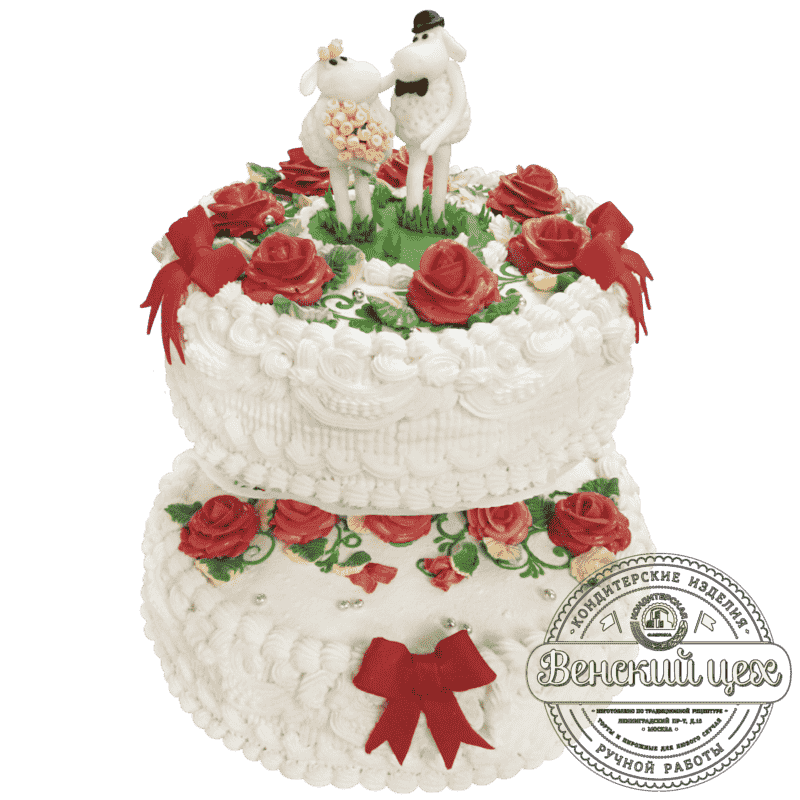 """Торт на свадьбу """"Свадебные барашки"""" №219"""