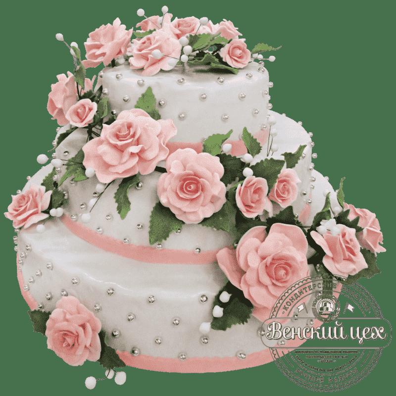"""Торт свадебный """" Розовый букет"""" №241"""