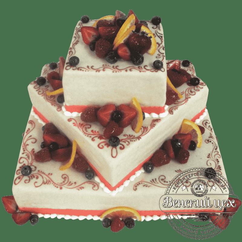 """Торт свадебный """"Ягодный узор"""" №243"""
