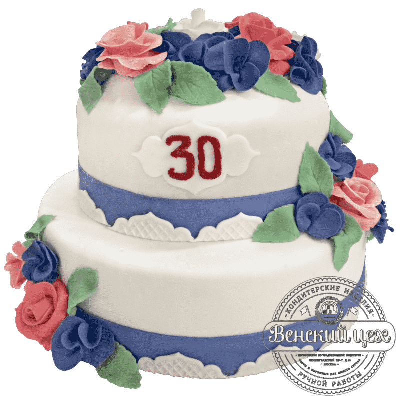 """Торт на юбилей """"Синие розы"""" №265"""