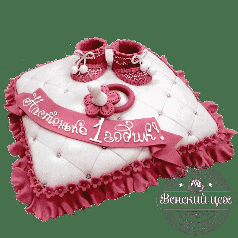 """Торт детский на 1 годик """"Розовые пинетки"""" №269"""