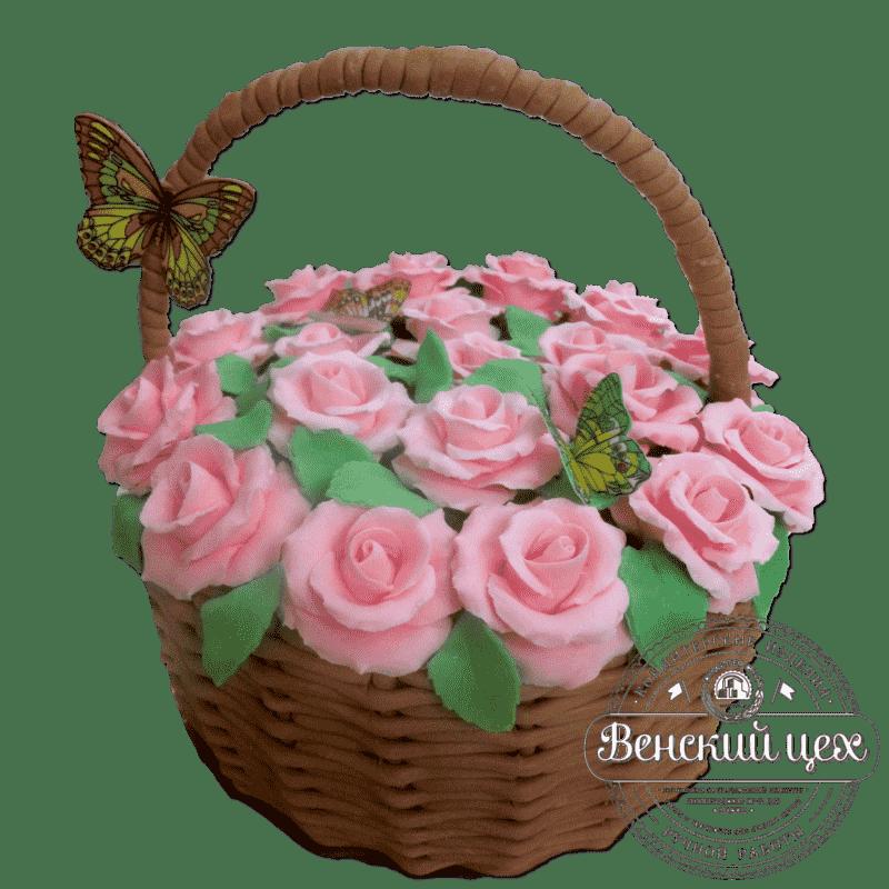 Торт на день рождения «Корзина с розами» №275