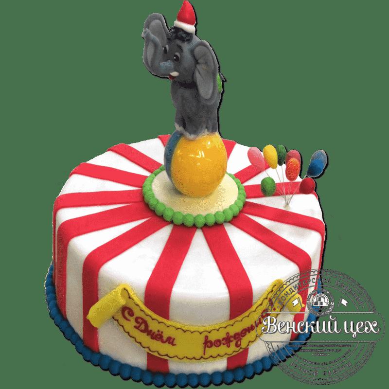 """Детский торт на день рождения """"Слонёнок на шаре"""" №283"""