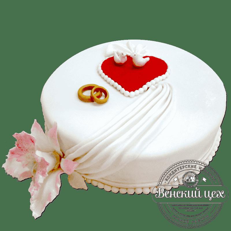 "Торт на свадьбу ""Сердце с голубями"" №285"