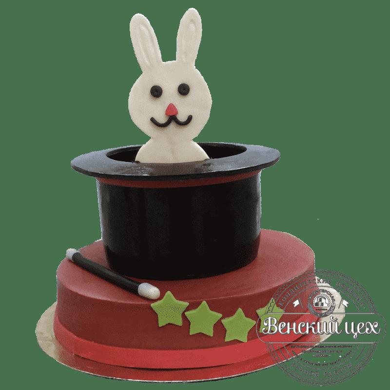 Торт на день рождения ребенку «Кролик в шляпе» №299