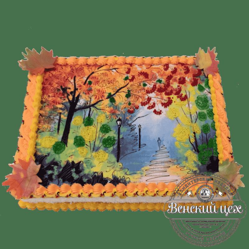 Праздничный торт «Осенний пейзаж» №301