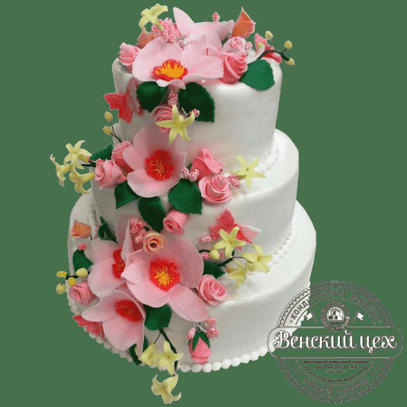 "Торт на свадьбу ""Цветопад"" №346"